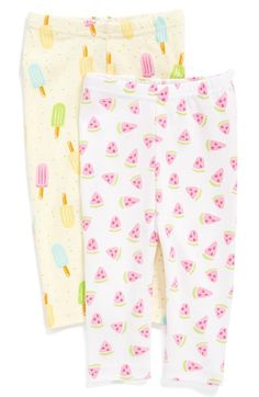 ROSIE+POPE+Print+Cotton+Pants+(2-Pack)+(Baby+Girls)+available+at+#Nordstrom #Watermelon