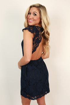 Queen's Lace Mini Dress in Navy