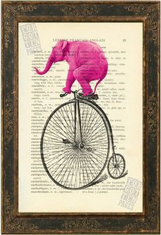 Pink Elephant on Old Bicycle altered art print