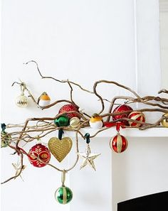 Ornaments on branch. What a nice way to display.
