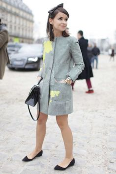 Miroslava Duma + street style + Paris Haute Couture Fashion Week 2013/14 + black Hermes bag + Louis Vuitton coat