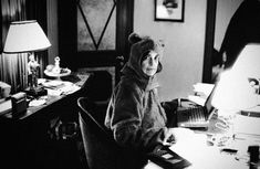 Susan Sontag. In a bear suit.   Taken by Annie Leibowitz.   (From Flavorwire's Extremely Silly Photos of Extremely Serious Writers.)