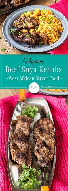 Nigerian Beef Suya Kebabs - West African Street Food | Popular street food in West Africa, the Nigerian beef kebabs, aka suya are rubbed in spicy peanut mixture and grilled to perfection. | allthatsjas.com | #beef #BBQ #cookout #streetfood #glutenfree #dairyfree #peanuts #grilling #Nigerian #recipe #homemade #spicy #fastfood #dinner #deliciousfood #ethnicfood #recipes