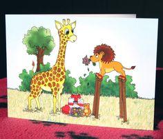 Giraffe & Lion blank card A5 animal by IllustrationByKeziah