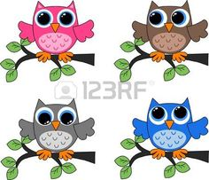 vier verschillende uilen photo