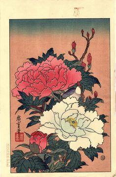 Japanese Ukiyo-e Woodblock print Hiroshige Peonies by UkiyoeSalon Japanese Bird, Japanese Flowers, Japanese Tattoo Art, Japanese Painting, Chinese Painting, Japanese Patterns, Japanese Prints, Art And Illustration, Botanical Illustration