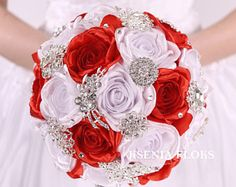 brooch bouquet, red wedding bouquet, red and white fabric bouquet, bridal bouquet, broach bouquet Fabric Bouquet, Broach Bouquet, Red Bouquet Wedding, Wedding Brooch Bouquets, Rose Bouquet, Red Wedding, Wedding Colors, Wedding Flowers, Flowers Last Longer