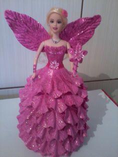Diamila Artesanatos: Boneca fada em E.V.A rosa...