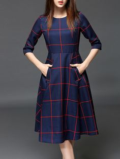 Shop Midi Dresses - Blue Vintage Polyester Pockets Midi Dress online. Discover unique designers fashion at StyleWe.com.