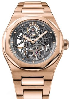 Girard-Perregaux launches a new skeletonized version of the Laureato simply called Skeleton. Either in in stainless steel or 18K pink gold. The skeletonization is extensive and a lot of the movement is on display.