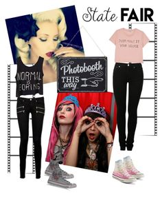 """""""Photo booth at the State Fair"""" by cjpugmommy ❤ liked on Polyvore featuring Paige Denim, MM6 Maison Margiela, Monki, Converse, statefair and summerdate"""
