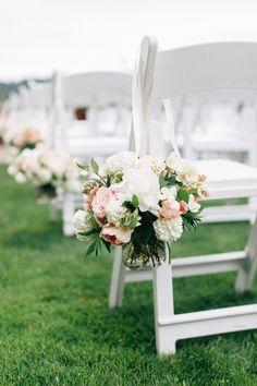 Aisle flowers: http://www.stylemepretty.com/washington-weddings/2015/07/28/organic-romantic-puget-sound-wedding/ | Photography: Katy Weaver - http://www.katyweaver.com/