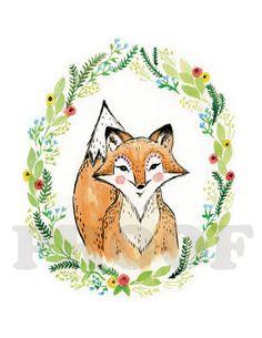The fox watercolor flower nursery art