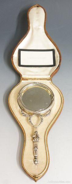 An 18th Century Silver French Hand Mirror Circa 1790.  Case Containing Label For Comtesse De Labry