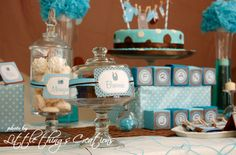 """Brown and Blue clothes and airplane / Baby Shower/Sip & See """"Brown and Blue Boy Baby Shower"""" 
