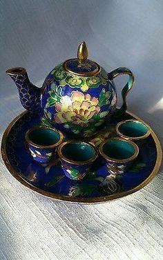 7 Pc. Miniature Cast Iron Oriental Tea Set Hand Painted w Gold Trim.