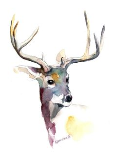 Deer watercolor art digital print A4 A3 8x11 by AlisaAdamsoneArt