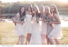 Pretty in pastel! Beautiful bridesmaids! Photographer: Cara Lee Gevers | Dress: Julia Ferrandi | Make-Up: Lisa Bailey | Bouquets: Tatum Joynt from Unforgettable Events |
