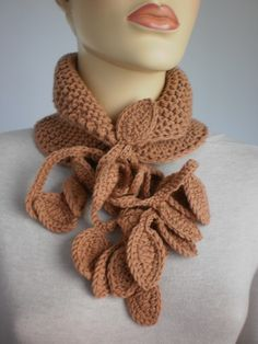 Fall Fashion Sandy Brown Hand Knit and Crochet Set by levintovich