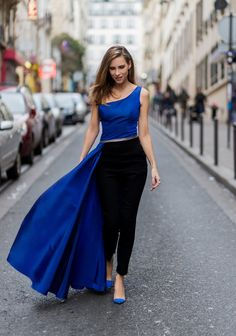 56ea8524bea Alexandra Lapp wear the Pearl And Rubies taffeta and leather one shoulder  top in blue with