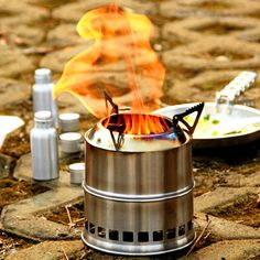 EIALA Potable Stainless Steel Wood Burning Camping Stove *** Click image to review more details.
