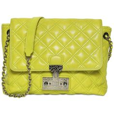 MARC JACOBS The Large Single Iconic Leather Bag (1,150 BAM) ❤ liked on Polyvore featuring bags, handbags, shoulder bags, acid green, yellow shoulder bag, leather purses, marc jacobs shoulder bag, leather handbags and chain shoulder bag