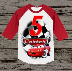Cars birthday shirt is available with any name and age. Please note the age and name that you would like displayed in the notes to seller section during check out. PLEASE LOOK AT STYLE CHART WHICH IS THE LAST THUMBNAIL IMAGE. There are many different style shirts available so