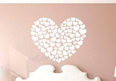 Harten muur sticker slaapkamer muur stickers wit door WallArtDIY