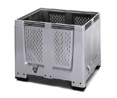 The Big Boxes with ventilation slots are used for example as boxes for the harvest or for the storage of fruits and vegetables. They are made of robust, scratch-resistant plastic material. Smooth inner and outer walls ensure easy cleaning.    Standardized dimensions (ISO 1,200 x 1,000 mm) ensure smooth operation in storage and transport processes.    Also stackable with lid  Superimposed load 4 tonnes  availabe with feet, skids or wheels    Price : £143.54    Weight : 42.00 kg