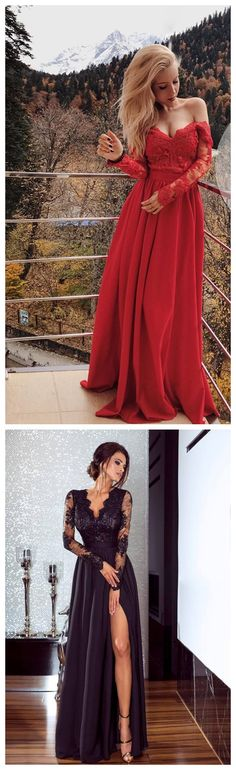 Red Long Sleeve Lace Elegant Prom Dress,Long Prom Dresses,Prom Dresses,Evening Dress, Evening Dresses,Prom Gowns, Formal Women Dress P0590 #2piecespromdress #2piece #2pieces #twopieces #promdress #promdresses #hiprom #prom #GraduationDress #2018 #PartyDress #redprom