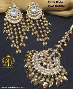 """""""Punjabi Traditional """"Gold Plated Kundan Tops With Pippal Patti Tika""""(Next to Real)  Item Code - PTJ ET503  For price please inbox with Image or WhatsApp…"""""""