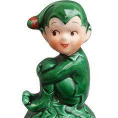 Vintage Christmas Elf Knee Hugger 1960s Ceramic Pixie Mid Century