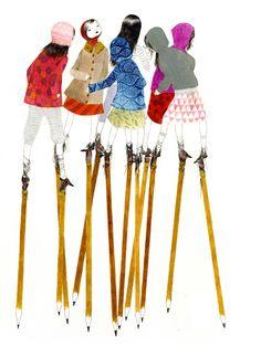 untitled © julie morstad 2008, ink and pencil on paper