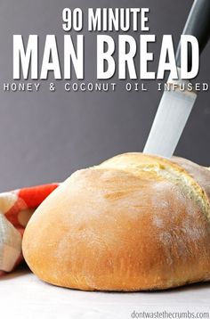 This man bread recipe is so easy, even a man can make it. It was after all, developed by one! Create an awesome, man-sized loaf, or a dozen rolls of homemade bread in just a quick 90 minutes. Easy and healthy recipes for novice or men cooks alike! Real Food Recipes, Cooking Recipes, Loaf Recipes, Healthy Recipes, Easy Homemade Bread Recipes, Bread Flour Recipes, Homemade Buns, Cooking Kale, Camping Cooking