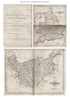 Cary's New and Correct English Atlas 1793 Vintage World Maps, English, English Language