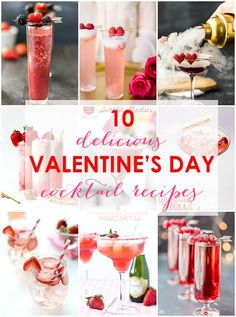 20 Delicious Valentine's Day Cocktail Recipes with Lots of Love! These all look so delicious! 10 Valentine's Day cocktail recipes … Valentine's Day Drinks, Cocktail Drinks, Yummy Drinks, Cocktail Recipes, Alcoholic Drinks, Red Cocktails, Martini, Brunch, Easy Drink Recipes