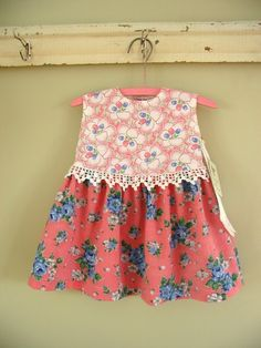 sweet little baby top with mixed prints and lace