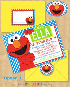 "ELMO Party Invitation 5x7"" with Address Labels, now Includes Envelope Template - DIGITAL files only - PERSONALIZED Print yourself. $14.00, via Etsy."