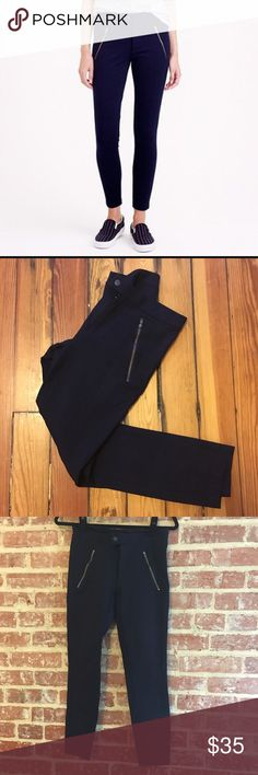J. Crew Pixie snap front skinny navy pants J. Crew dress pants. Stretchy and comfortable! Size 4 Petites. Excellent condition. J. Crew Pants Skinny