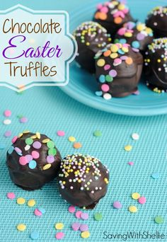 To make these easy Chocolate Truffles, you just need are Oreos, cream cheese and chocolate. Add sprinkles for a festive Easter dessert.