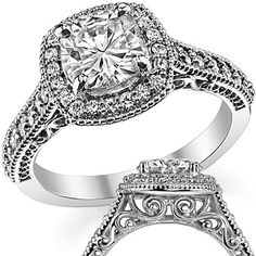 Cushion Forever One Moissanite Scroll Halo Engagement Ring - Love the scrolls in the gallery but wish the milgrain were a little less pronounced on the band. Forever Brilliant Moissanite, Forever One Moissanite, Cushion Halo, Thing 1, Dream Ring, Wedding Rings, Wedding Bells, Fashion Accessories, White Gold