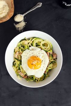 Healthy Zucchini Pasta Carbonara