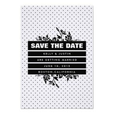Elegant Black and White Save The Date Invites