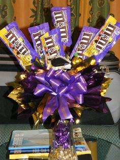 Purple and Gold Candy bouquet I gave to my daughter aboard RCCL Liberty of the Seas graduation cruise, PBHS class of 2008....off to LSU then law school!