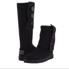 Black knit uggs Original bought from Ugg store great condition worn a few times I also have them in grey too if you're interested! UGG Shoes Winter & Rain Boots