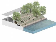 Image 1 of 14 from gallery of Chicago Riverwalk Proposal / Sasaki Associates + Ross Barney Architects. Courtesy of Sasaki Associates + Ross Barney Architects Landscape Stairs, Landscape Architecture Design, Landscape Plans, Concept Architecture, Urban Landscape, Parque Linear, Landscape Diagram, Chicago Riverwalk, Urban Design Diagram