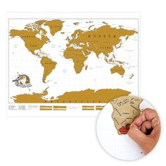 World map with scratch-off countries so you can mark where you've been. A different take on push pin maps. #Travel