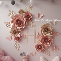 Paper Flowers Nursery made from high quality paper :) by MamilaPaperFlowers Paper Flowers Craft, Paper Flower Wall, Paper Flower Backdrop, Flower Wall Decor, Flower Crafts, Diy Flowers, Flower Decorations, Paper Crafts, Wall Flowers