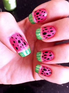 Juicy watermelons in the summertime! Here's how I did it:  1) I started with a coat of opaque pink 2) Then a thick French tip in a lighter translucent pink 3) Then another thinner French tip in opaque green 4) Some translucent green lines on the rind 5) Topped it off with a few seeds, which were done with a toothpick dipped in black 6) Ultra shiny top coat goes a long way here, making them literally look juicy!