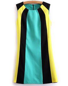 Color Block Splicing Round Collar Sleeveless Trendy Style Women's Dress